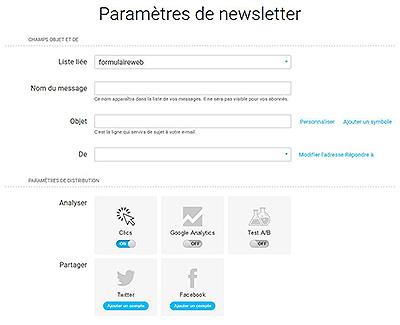 paramètres de newsletter