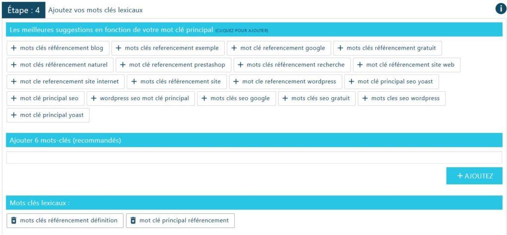 mots-clés pour le plugin wordpress writup
