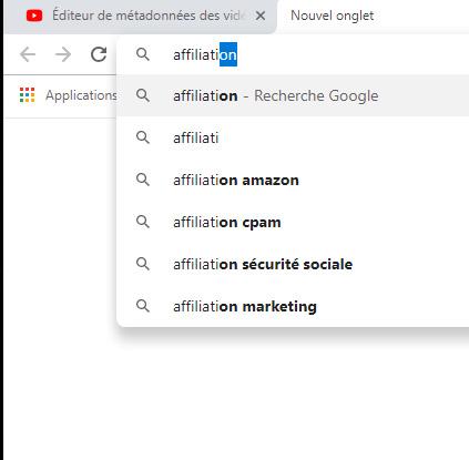 trouver une idée de vidéo - recherche google