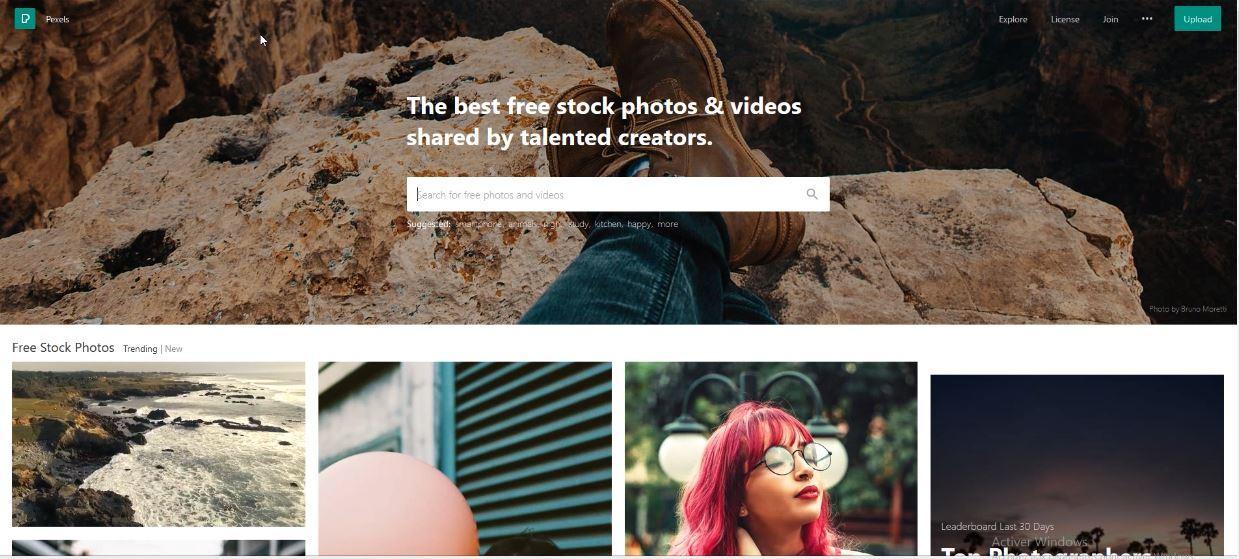 Pexels pour télécharger des photographies de haute qualité