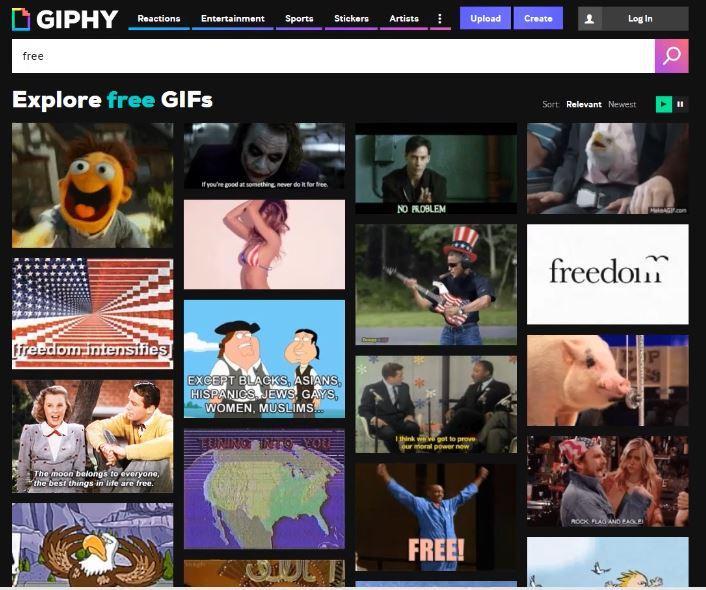 Giphy pour des images animées au format gif