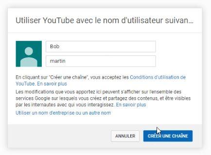 Formulaire d'inscription YouTube