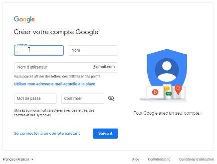 Formulaire d'inscription pour un compte Google