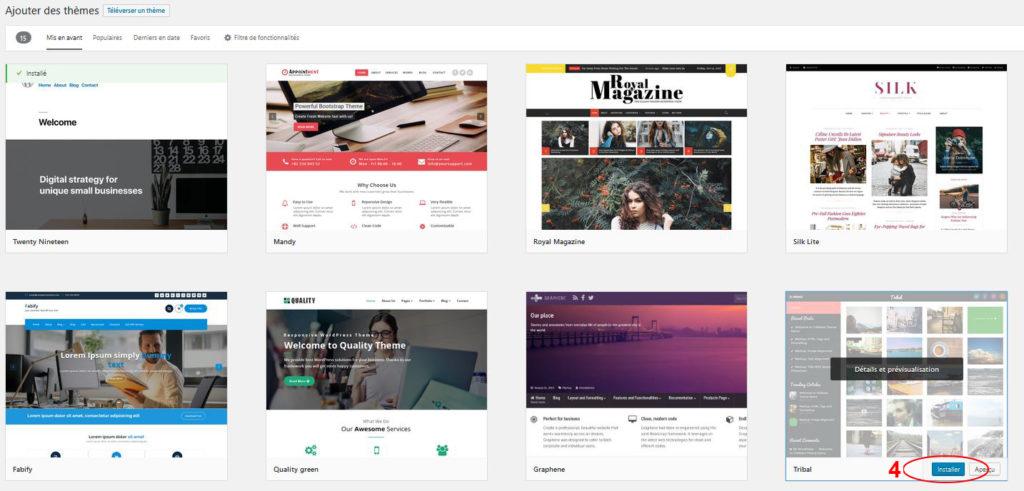 Installer un thème proposé par WordPress suite