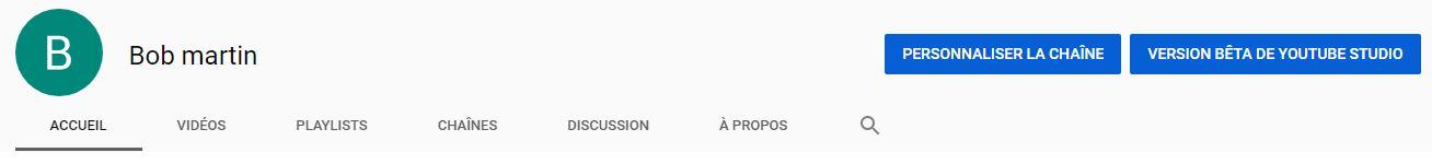 Menu de la chaine YouTube