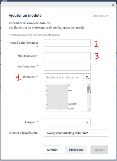 choisir son nom administrateur pour créer un blog wordpress
