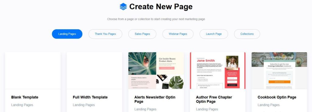 create new page optimizepress 3