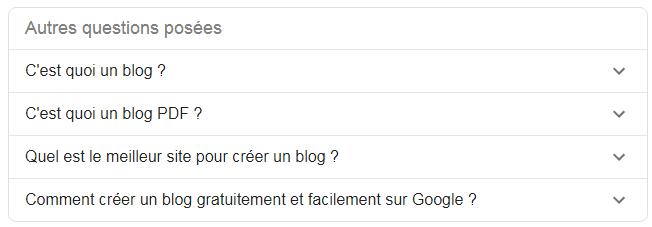 intentions de recherche proposées par Google