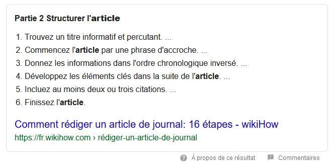 exemple d'extrait optimisé dans la recherche organique de Google