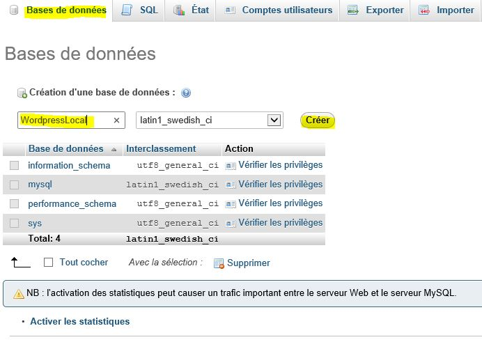 créer-une-base-de-données pour installer wordpress en local