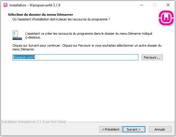 dossier-du-menu-démarrer pour installer wordpress en local