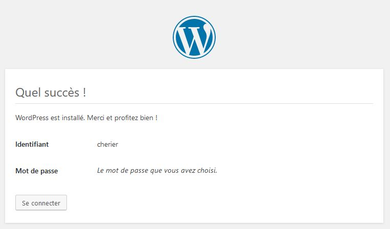 installation-réussie pour installer wordpress en local