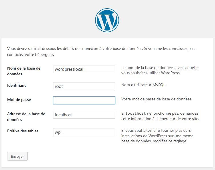 paramètre-dinstallation pour installer wordpress en local