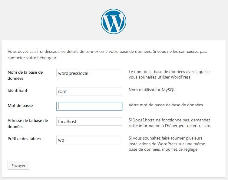 paramètre-dinstallation pour installer wordpress en local