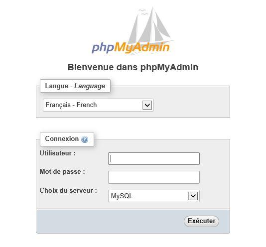 phpMyAdmin pour installer wordpress en local