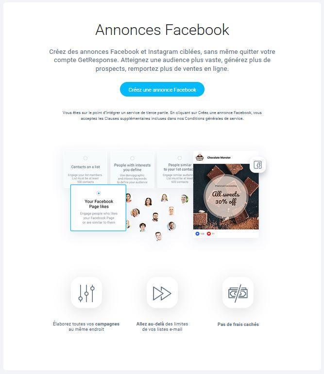 Créer une publicité Facebook avec Getresponse première page