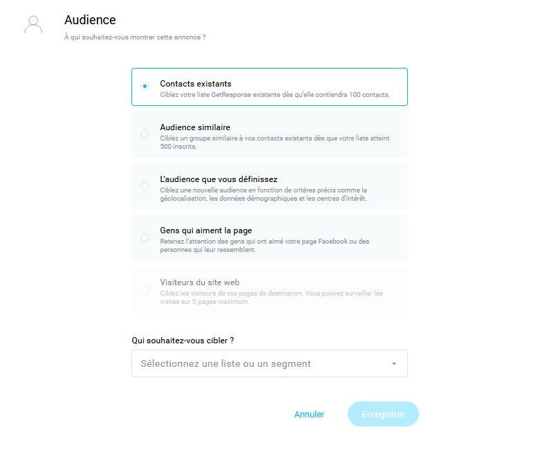 choisir l'audience pour créer une publicité Facebook avec Getresponse
