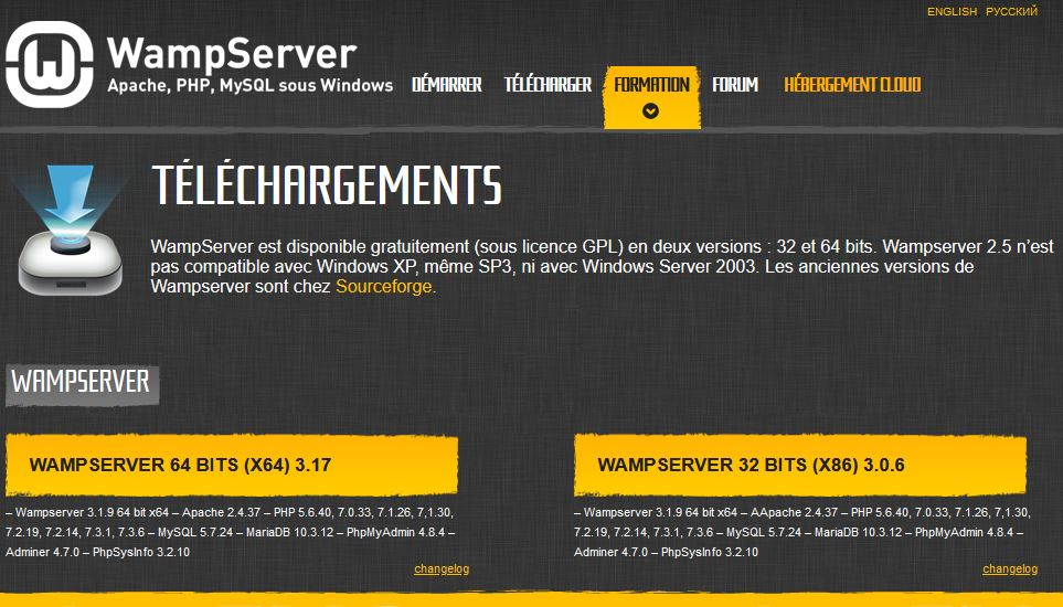 wampserver pour installer wordpress en local
