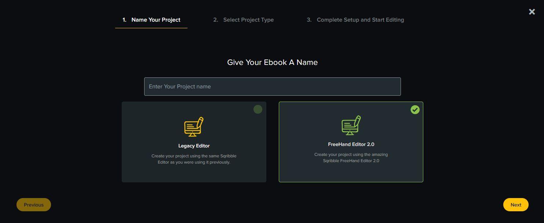 création du projet d'ebook