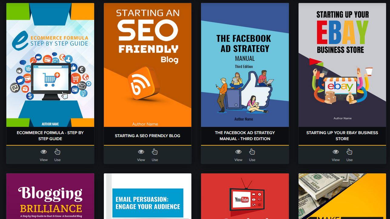 templates disponibles sur Sqribble pour créer un ebook