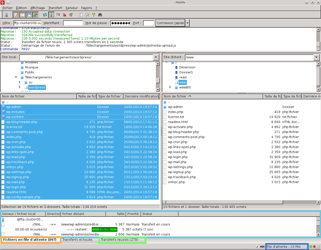 Transfert des fichier en FTP avec Filezilla pour installer WordPress sur OVH