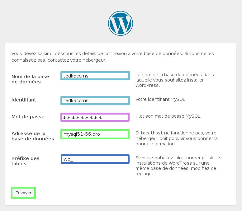 détails-de-connexion-à-la-base-de-données pour installer WordPress sur OVH